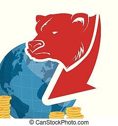 mur, mondiale, rue, ours, argent