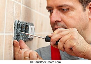 mur, monture, électrique, rencontre, électricien