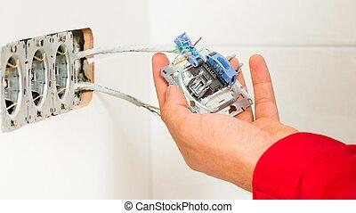 mur, monture, sortie électrique, électricien