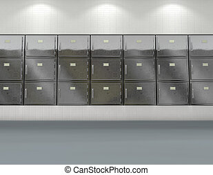 mur, morgue, frigos, plat