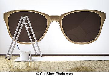 mur, motif, lunettes soleil, salle, élégant