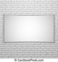 mur, movie skærm, eller, mursten, banner, hvid