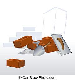 mur, mursten, under, constructed