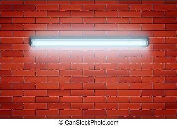 mur, néon lampe, brique, rouges