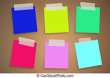 mur, notes, coloré, collant