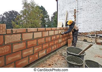 mur, nouveau, construction, salle