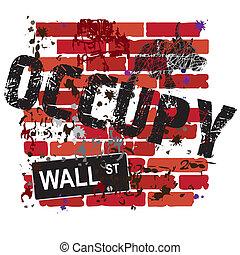 mur, occuper, signe rue