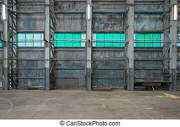 mur ondulé, entrepôt, fer