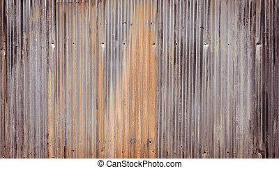 mur ondulé, métal, fond
