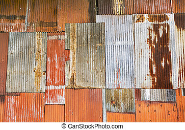 mur ondulé, métal rouillé