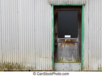 mur ondulé, vieux, bois, porte