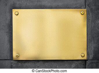 mur or, métal, enseigne, béton, vide, nameboard, ou