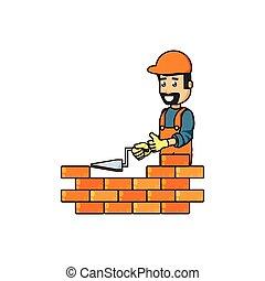 mur, outillage, ouvrier, spatule, construction, brique