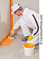 mur, ouvrier, autour de, waterproofing, plancher