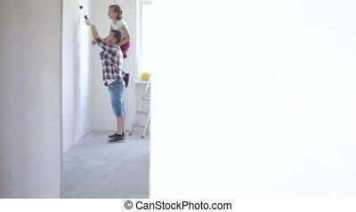 mur, père, fille, peinture