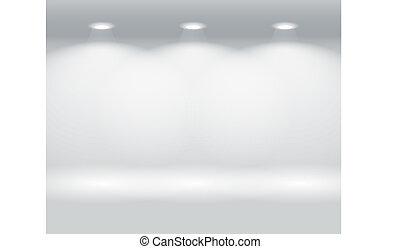 mur, paneler, belyst, farverig