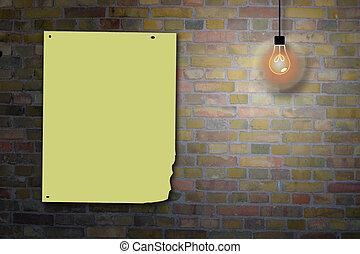 mur, panneau affichage, brique