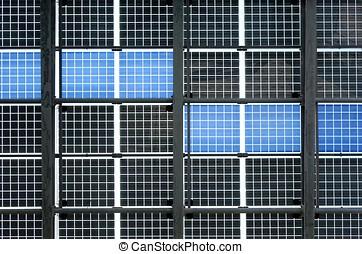 mur, panneaux, solaire