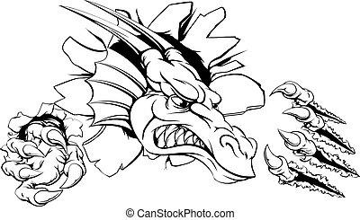 mur, par, déchirer, dragon