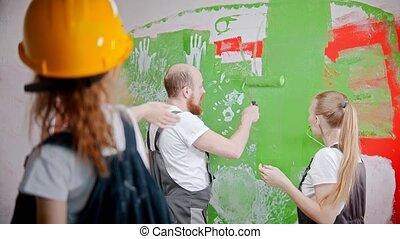 mur, parents, où, demander, fille, vert, leur, peinture