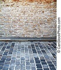 mur, pavé, rue brique