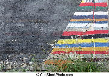 mur peint brique