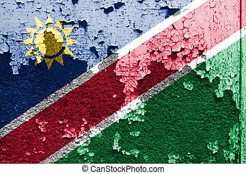 mur peint, drapeau, grunge, namibie