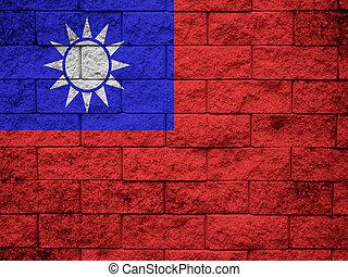 mur peint, drapeau, grunge, taiwan