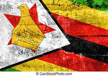 mur peint, drapeau, zimbabwe, grunge