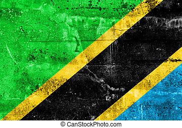 mur peint, tanzanie, grunge, drapeau