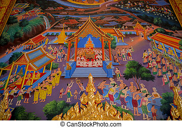 mur, peinture, art, temple