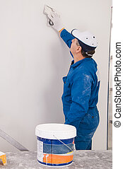 mur, peinture, homme