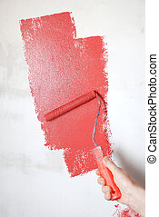 mur, peinture, rouleau