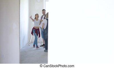 mur, peinture, salle, famille