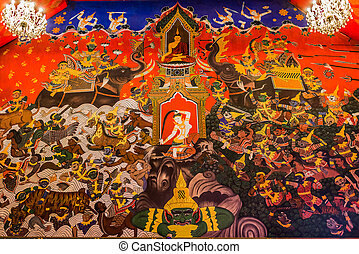 mur, peinture, wat phanan choeng, temple, ayutthaya,...