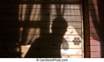 mur, personne, ombre, enfant