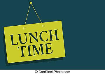 mur, photo, signe jaune, milieu, fin, petit déjeuner, ouvert, avant, écriture, note, arrière-plan., time., planche, communication, business, projection, après, déjeuner, jour, gris, dîner, showcasing, repas