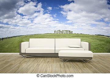 mur, photo, sofa, mural, plancher
