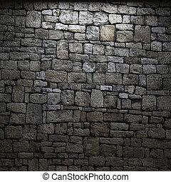 mur, pierre, éclairé