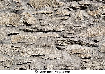 mur, pierre, ciment