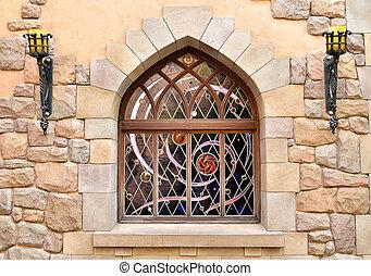 mur, pierre, fenêtre, arqué