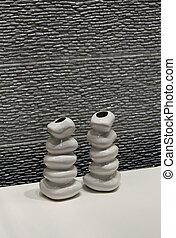 mur, pierre, moderne, céramique, vases