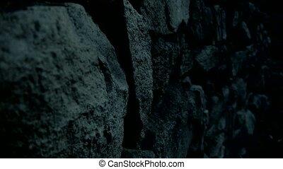mur, pierre, night., nostalgique