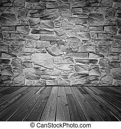 mur, pierre, plancher bois