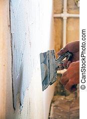 mur, plâtrer, homme
