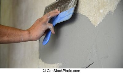 mur, plâtrer, ouvrier, spatule