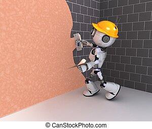 mur, plâtrer, robot