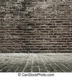 mur, plancher brique
