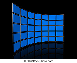 mur, plat, vidéo, écrans, tv