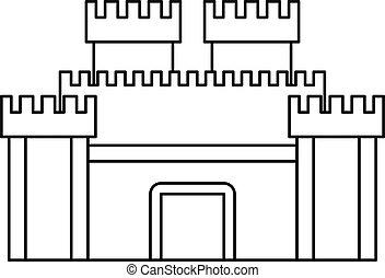 mur, portail, vieux, forteresse, icône